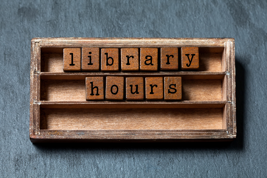 Besjunior (n.d.). Library hours conept. Vintage blocks with letters, aged wooden box. Gray stone background, macro [Image]. Bigstock.com. Retrieved from http://www.bigstockphoto.com/image-131466350/stock-photo-library-hours-conept-vintage-blocks-with-letters%2C-aged-wooden-box-gray-stone-background%2C-macro